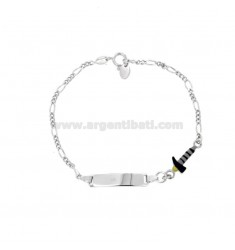 BRACELET 3 1 WITH PLATE AND HAMMER IN SILVER RHODIUM TIT 925 AND ENAMEL CM 15-17