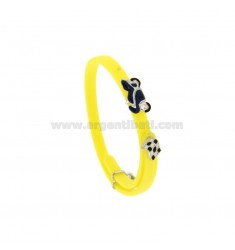 BRACELET IN RUBBER 'WITH MOTORCYCLE AND PIT STOP IN SILVER RHODIUM TIT 925 AND ENAMEL