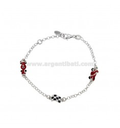 ROLO BRACELET WITH RACING MACHINE PIT STOP AND MOTORCYCLE IN SILVER RHODIUM TIT 925 AND ENAMELED CM 15-17