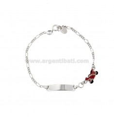 BRACELET 3 1 WITH PLATE AND MOTORCYCLE IN SILVER RHODIUM TIT 925 AND ENAMEL CM 15-17