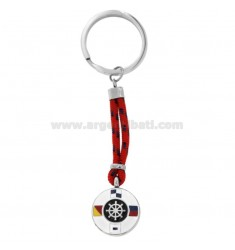 KEYRING WITH GLAZED STEERING WHEEL AND STEEL CORD
