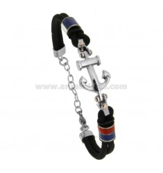 BLACK AND CENTRAL ROPE BRACELET IN SHAPE AND NAUTICAL FLAGS ENAMELLED CM 21