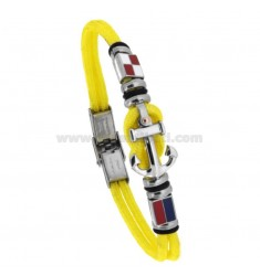 YELLOW AND CENTRAL ROUND BRACELET IN SHAPE AND NAUTICAL FLAGS ENAMELLED CM 21