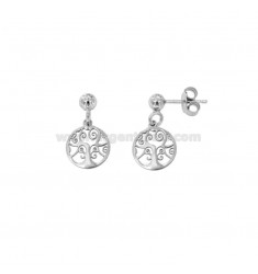 EARRINGS PENDANT WITH TREE OF LIFE 10 MM SILVER RHODIUM TIT 925