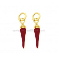 PENDANT PZ 2 HORN MM 24X6 WITH MASK PUZZLE IN SILVER microcast GOLD AND ENAMEL TIT 800 ‰
