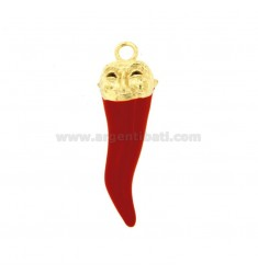 HORN PENDANT 43X14 MM WITH PUFFLE MASK IN SILVER microcast GOLD AND ENAMEL TIT 800 ‰