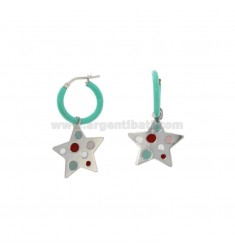 EARRINGS IN CIRCLE DIAM 12 WITH STAR PENDANT IN SILVER RHODIUM TIT 925 AND ENAMEL
