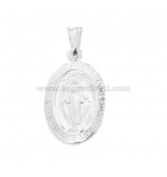 PENDANT MADONNINA MIRACULOUS OVAL MM 27X16 SILVER TIT 925 ‰