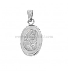 PENDANT OVAL MM 25X15 MADONNA WITH CHILD IN SILVER RHODIUM TIT 925 ‰