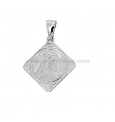 PENDANT IN THE SHAPE OF ROMBO 22X20 MM MADONNA IN SILVER RHODIUM TIT 925 ‰