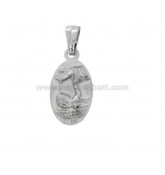 PENDANT OVAL MM 21X11 BAPTISM SOURCE IN SILVER RHODIUM TIT 925 ‰