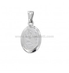 PENDANT OVAL 21x14 MM WITH ENGRAVING PANTOGRAPH FIRST COMMUNION GIRL IN SILVER RHODIUM TIT 925 ‰