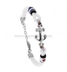 BRACELET IN WHITE AND CENTRAL ROPE IN STAINLESS STEEL AND ENAMELLED NAUTICAL FLAGS CM 21