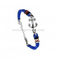 LIGHT AND CENTRAL ROPE BRACELET IN STAINLESS STEEL AND NAUTICAL FLAGS ENAMELLED CM 21