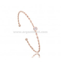RIGID BRACELET WITH TORCHON WIRE AND SOLITAIRE IN ROSE SILVER TIT 925 AND ZIRCON ADJUSTABLE SIZE