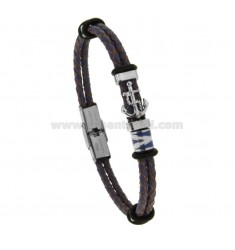 2-WIRE PURPLE BRAIDED LEATHER BRACELET WITH NAUTICAL FLATS ENAMELLED AND CENTRAL STAINLESS STEEL
