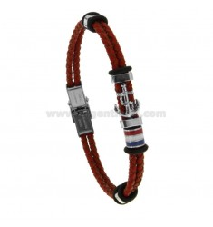 TWO-WIRE BRACELET IN TWO-WIREED LEATHER WITH GLOVES AND STAINLESS STEEL CENTRAL FLAG