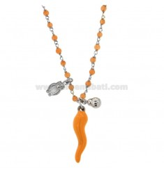 STAINLESS STEEL NECKLACE WITH ENAMELED HORN COCCINELLA AND CIVETTA PENDING IN SILVER RHODIUM TIT 925 ‰ CM 40-45