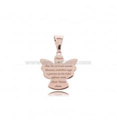 Anhänger Engel ECO mit Gebet 17x16 MM Silber Rose TIT 925