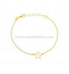BRACELET CABLE WITH CENTRAL STAR GLOSSY WHITE SILVER GOLDEN TIT 925 CM 17-20