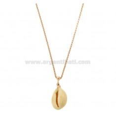 ROLO Halskette mit natürlichen CONCHIGLIA Anhänger SILVER ROSE TIT 925 CM 40-45