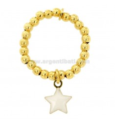 BALL ELASTIC RING 3 MM MIT STAR ANHÄNGER SILBER GOLD TIT 925