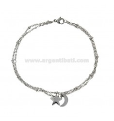 ANKLE BAR IN STEEL WITH MOON AND STAR CM 20-26