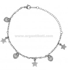 CAVIGLIERA IN STEEL WITH HEARTS AND STARS CM 20-26