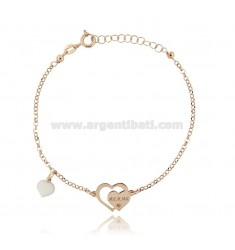 ROLO BRACELET WITH HEART MOM AND HEART ENAMELED PENDANT IN COPPER SILVER TIT 925 ‰ CM 17-20