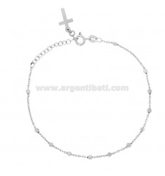 ROSARY BRACELET CABLE WITH BALL OF 2.5 MM 19 CM SILVER RHODIUM 925 ‰