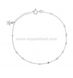ROSARY BRACELET CABLE WITH BALL faceted MM 2.5 CM 19 SILVER RHODIUM 925 ‰ AND STAR