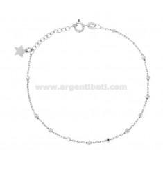 Rosenkranz Armband mit Kugel facettiert MM 2,5 CM 19 Silber Rhodium 925 ‰ UND STAR