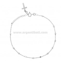 ROSARY BRACELET CABLE WITH BALL faceted MM 2.5 CM 19 SILVER RHODIUM 925 ‰