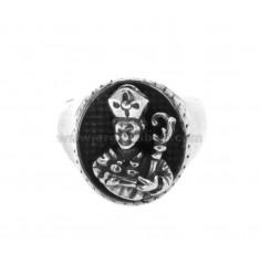 RING GENNARO OVAL 18x16 MM Silber BRUNITO TIT 925 GRÖßE EINSTELLBAR VON 16