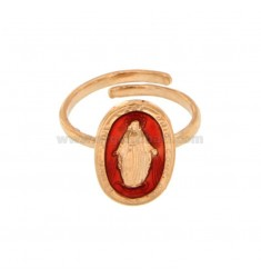 ANILLO MADACOLOSA OVAL 19X11 MM PLATA ROSE TIT 925 ‰ Y SUAVE TAMAÑO AJUSTABLE ROJO