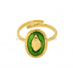 MADACOLOSA RING OVAL 19X11 MM SILVER GOLDEN TIT 925 ‰ AND GREEN ENAMEL ADJUSTABLE