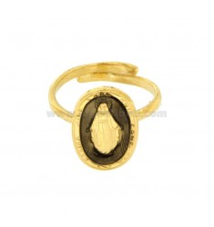 MIRACULOUS RING OVAL 19X11 MM SILVER GOLDEN TIT 925 ‰ AND BLACK ENAMEL ADJUSTABLE SIZE