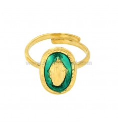 MIRACULOUS RING OVAL 19X11 MM IN SILVER GOLDEN TIT 925 ‰ AND TURQUOISE ENAMEL ADJUSTABLE SIZE