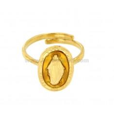 RING MADACOLOSA OVAL 19X11 MM Gold Silber TIT 925 ‰ UND EMAIL GELB EINSTELLBARE GRÖßE