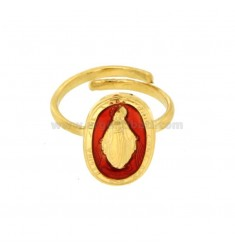 MADACOLOSA RING OVAL 19X11 MM SILVER GOLDEN TIT 925 ‰ AND RED ENAMEL ADJUSTABLE SIZE