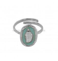 MIRACULOUS RING OVAL MADONNINA 19X11 MM SILVER RHODIUM TIT 925 ‰ AND ENAMEL CELESTIUM ADJUSTABLE SIZE
