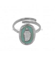 WUNDERSCHÖNEN RING OVAL MADONNINA 19X11 MM Silber Rhodium TIT 925 ‰ und Emaille CELESTIUM einstellbare Größe