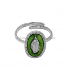 RING MADACOLOSA OVAL 19X11 MM Silber Rhodium TIT 925 ‰ UND GRÜN EMAIL JUSTIERBAR