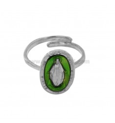 RING MADACOLOSA OVAL 19X11 MM SILVER RHODIUM TIT 925 ‰ AND GREEN ENAMEL ADJUSTABLE