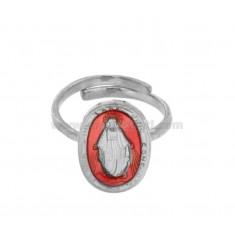 RING MADACNOSE MIRACULOUS OVAL 19X11 MM Silber Rhodium TIT 925 ‰ UND SMALTO PINK EINSTELLBARE GRÖßE