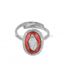 RING MADACNOSE MIRACULOUS OVAL 19X11 MM SILVER RHODIUM TIT 925 ‰ AND SMALTO PINK ADJUSTABLE SIZE