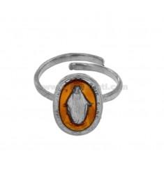 MIRACULOUS RING OVAL MADONNINA 19X11 MM Silber Rhodium TIT 925 ‰ UND GELB EMAILLE VERSTELLBARE GRÖßE