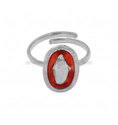 RING MADACNOSE MIRACULOUS OVAL 19X11 MM SILVER RHODIUM TIT 925 ‰ AND SMOOTH RED ADJUSTABLE SIZE