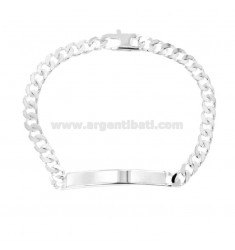 BRACCIALE GRUMETTA 4 SATI WITH PLATE 6X2 MM SILVER TITLE 925 ‰ WITH FRENCH CLOSING CM 22