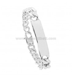 BRACCIALE GRUMETTA 4 SATI WITH PLATE 10x3 MM SILVER TIT 925 ‰ WITH FRENCH CLOSING CM 23